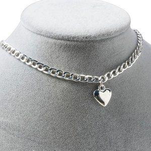 Love Heart Bohemian Silver Choker Charm Necklace 1